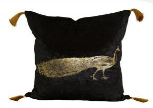 Kuddfodral Shilho,sammet, påfågel i guld, svart
