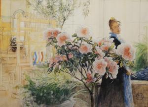 Väggbonad Blomsterhem, väggtavla, rosa