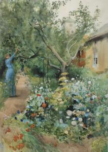 Väggbonad Blomsterträdgård, väggtavla, grön