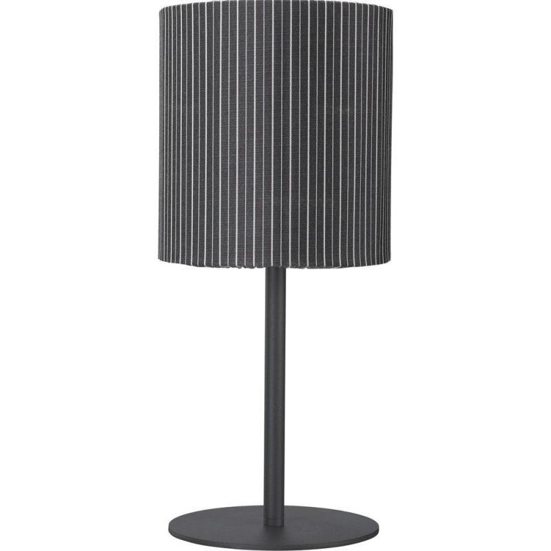 Bordslampa AGNAR SVART inkl. CELYN SKÄRM UTOMHUS, grå rand, höjd 57 cm, E27