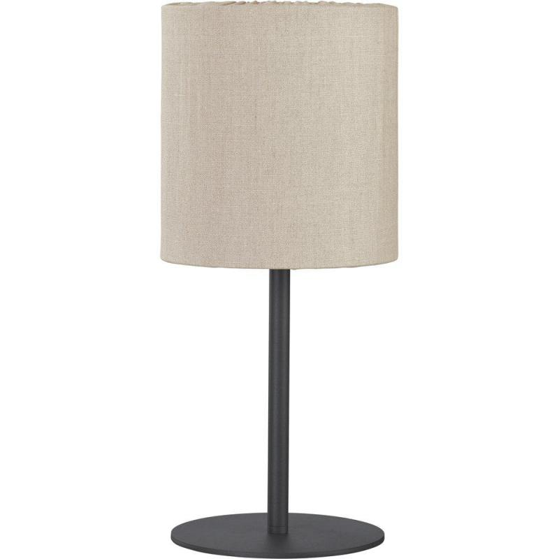 Bordslampa AGNAR SVART inkl. CELYN SKÄRM UTOMHUS, linnefärgad, höjd 57 cm, E27