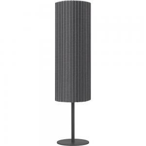 Golvlampa AGNAR SVART inkl. CELYN SKÄRM UTOMHUS, grå rand, höjd 100 cm, E27