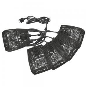 Ljusslinga SAIGON, 5 st lampskärmar i svart konstrotting, Flex Out sladd, E27
