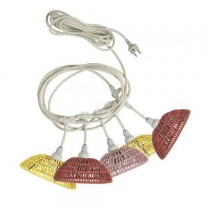 Ljusslinga HUE, 5 st lampskärmar Ø 20 cm färgad konstrotting, Flex Out sladd, E27