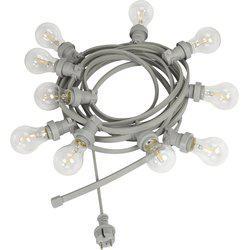 Ljusslinga Bright Light, E27, inkl.10st klarglas lampor, grå sladd