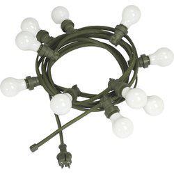 Ljusslinga Bright Light, E27, inkl.10st opalglas lampor, grön sladd