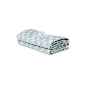 Handduk Schack, lin/bomull, isblå-vit