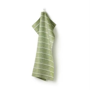 Handduk FISKBEN, 100% lin, bladgrön-vit