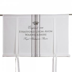 Hissgardin ENGLAND, vit med texttryck i grått
