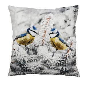 Kuddfodral BLÅMES på vintergren, vit/gul/blå