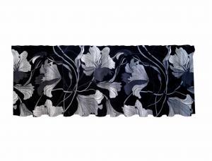 Gardinkappa LILLY, blommig, grå