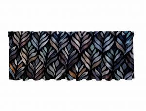 Gardinkappa BLAKE, abstrakta blad, svart/grön