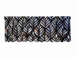 Gardinkappa BLAKE, abstrakta blad, svart/ljung