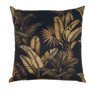 Kuddfodral TAHITI, sammet, svart/guld