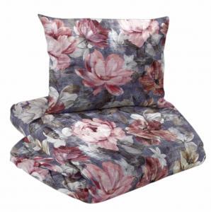 Bäddset 2-dels satin, PARIS, blommor, blå/rosa