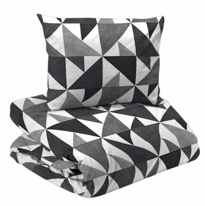 Bäddset 2-dels, TRIANGEL, geometrikst, grå