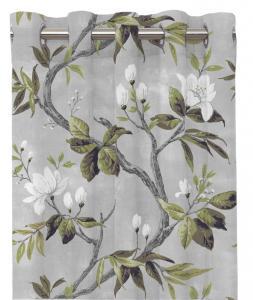 Gardinlängd CHIBA, blomstrande grenar, vit/grå