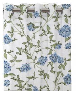 Gardinlängd PAULA, blommor och bladrankor, blå/vit
