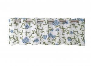 Gardinkappa PAULA, blommor och bladrankor, blå/vit