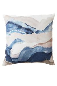 Kudde SKYMNING, bergslandskap i akvarell, blå
