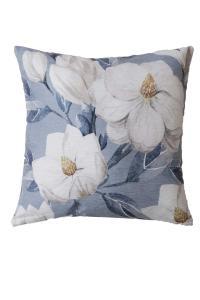 Kudde, MARIGOLD, vita blommor, blå