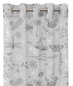 Gardinlängd ASTRID, sommarblomster och insekter, linne/grå