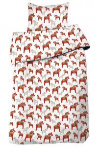 Bäddset DALARNA, 2-dels med dalahästar, röd