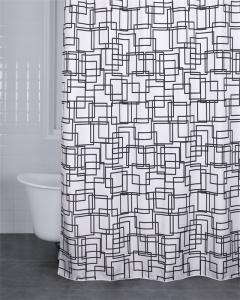 Duschdraperi BLOCK, vit/svart