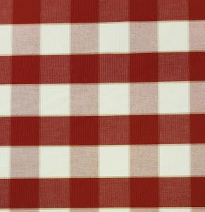 Gripsholmsruta på metervara i bomull, röd/vit