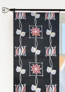 Panelgardin 50-tal, 2-pack i fin retrostil, svart