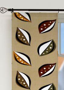 Panelgardin 50-ties, 2-pack i härlig retrostil med blad, brun