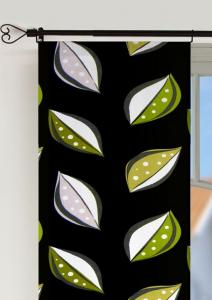 Panelgardin 50-ties, 2-pack i härlig retrostil med blad, svart botten med blad i lime