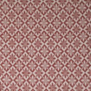 Vävd metervara i bolstermönster/madrasstyg, röd med ljusbeige varp