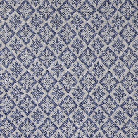 Vävd metervara i bolstermönster/madrasstyg, blå med beige varp