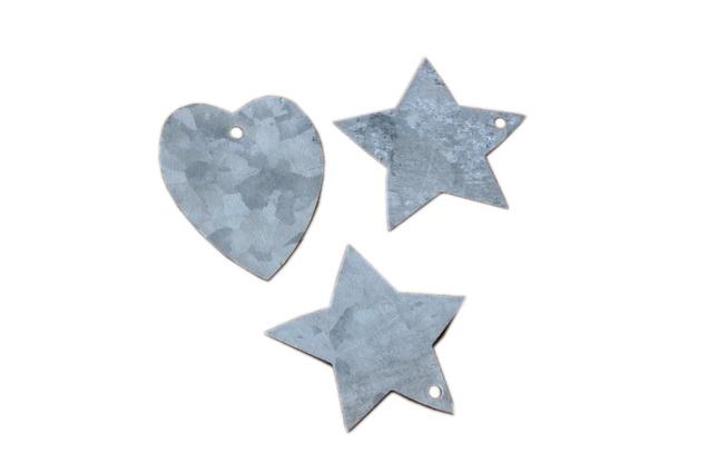 Hjärtan och stjärnor i zink