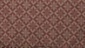 Vävd metervara i bolstermönster/madrasstyg, rödbeige, med mörkbeige varp