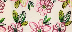 Gardinkappa, stora blommor, rosa