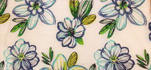 Gardinkappa, stora blommor, blå