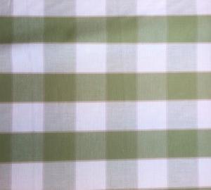 Gripsholmsruta på metervara i bomull, ljusgrön/vit