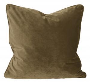 Kuddfodral i sammet, guldbrun