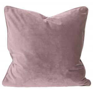 Kuddfodral Elise i sammet med passpoal, 60x60 cm, rosa