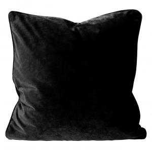 Kuddfodral Elise i sammet med passpoal, 60x60 cm, svart