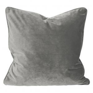 Kuddfodral Elise i sammet med passpoal, 60x60 cm, grå