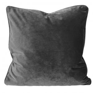 Kuddfodral Elise i sammet med passpoal, 60x60 cm, mörkgrå