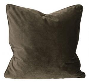 Kuddfodral Elise i sammet med passpoal, 60x60 cm, brun