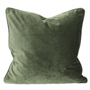 Kuddfodral Elise i sammet med passpoal, 60x60 cm, grön