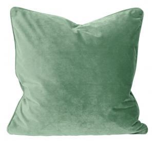 Kuddfodral Elise i sammet med passpoal, 60x60 cm, aquagrön