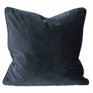 Kuddfodral Elise i sammet med passpoal, 60x60 cm, mörkblå