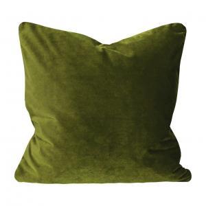 Kuddfodral Elise i sammet med passpoal, 60x60 cm, varmgrön