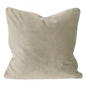Kuddfodral Elise i sammet med passpoal, 60x60 cm, beige
